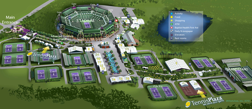 2013 Sony Open Tennis Plaza Map