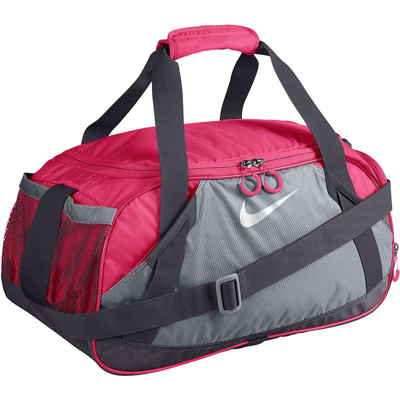 nike varsity medium duffel bag grey pink. Black Bedroom Furniture Sets. Home Design Ideas