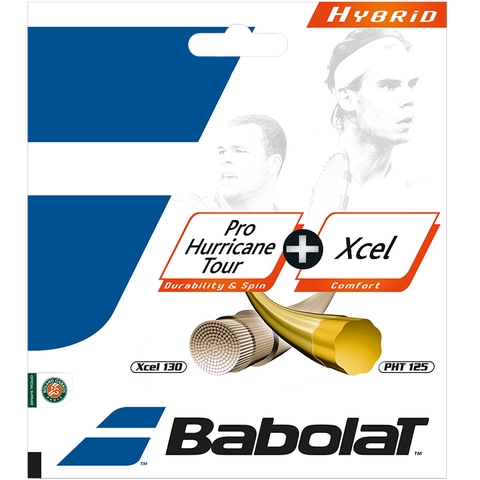 Babolat Pro Hurricane Tour 17 + Xcel 16 Tennis String Set