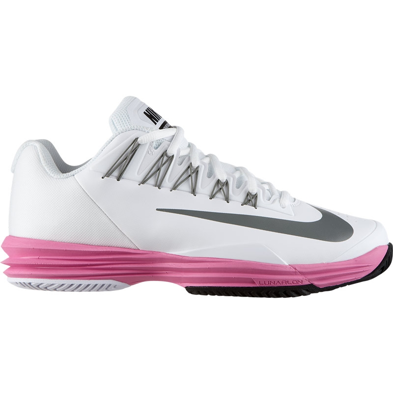 nike lunar ballistec s tennis shoe white pink grey
