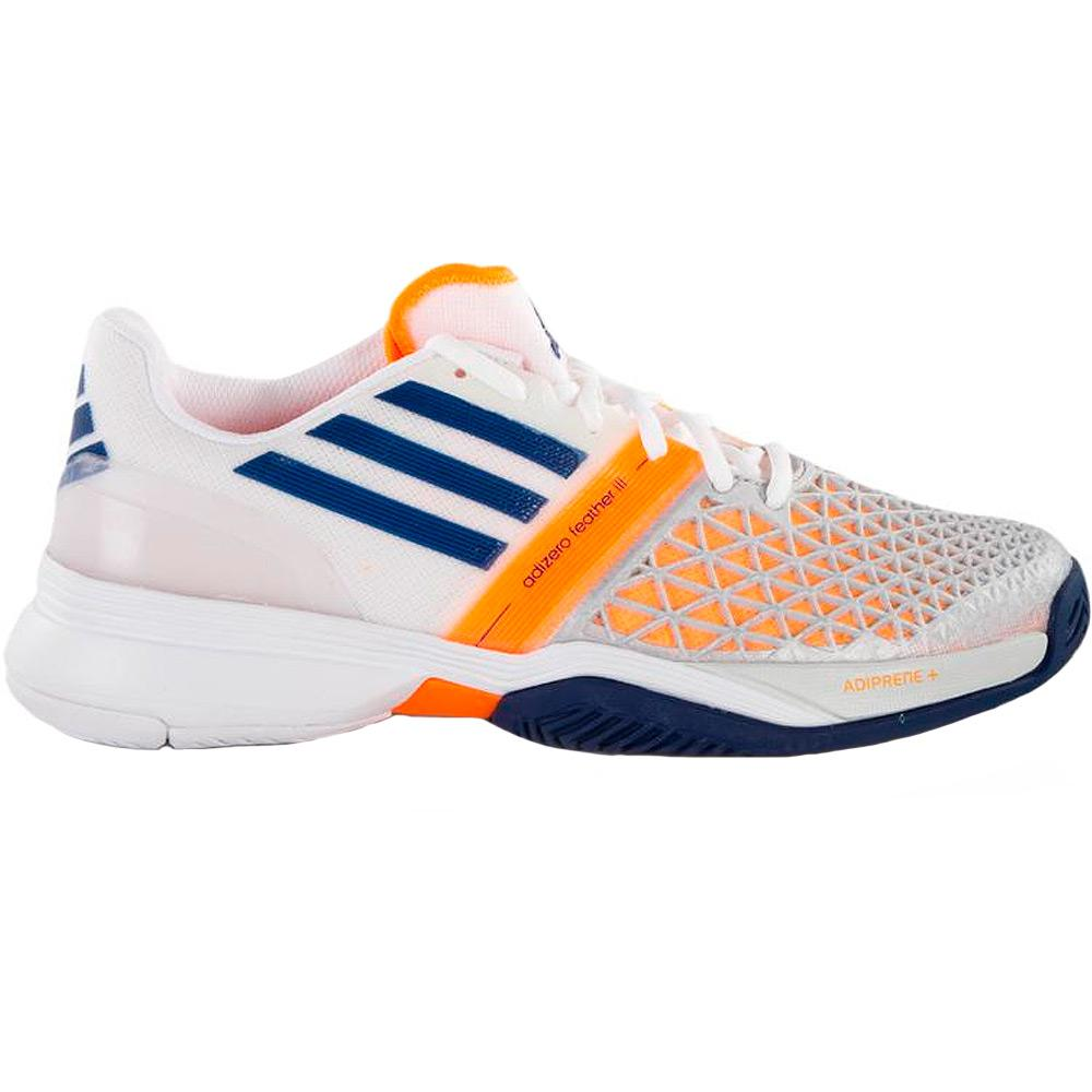 adidas adizero feather iii s tennis shoes white blue zest