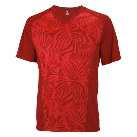 Wilson Solana Geometric V- Neck Men's Tennis Shirt