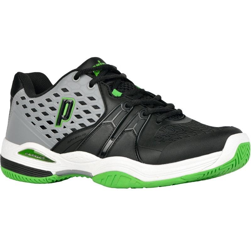 prince warrior s tennis shoe black green