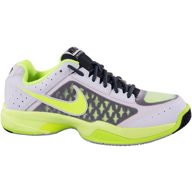 nike air cage court junior tennis shoe white grey volt