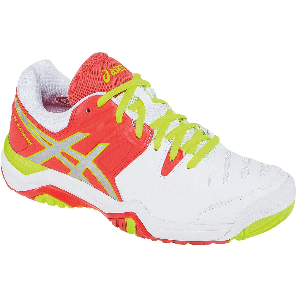 asics gel challenger 10 s tennis shoe white coral silver