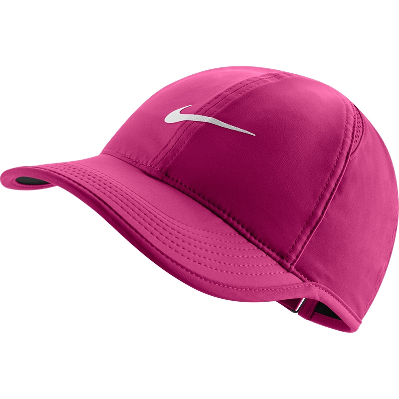nike featherlight s tennis hat pink white