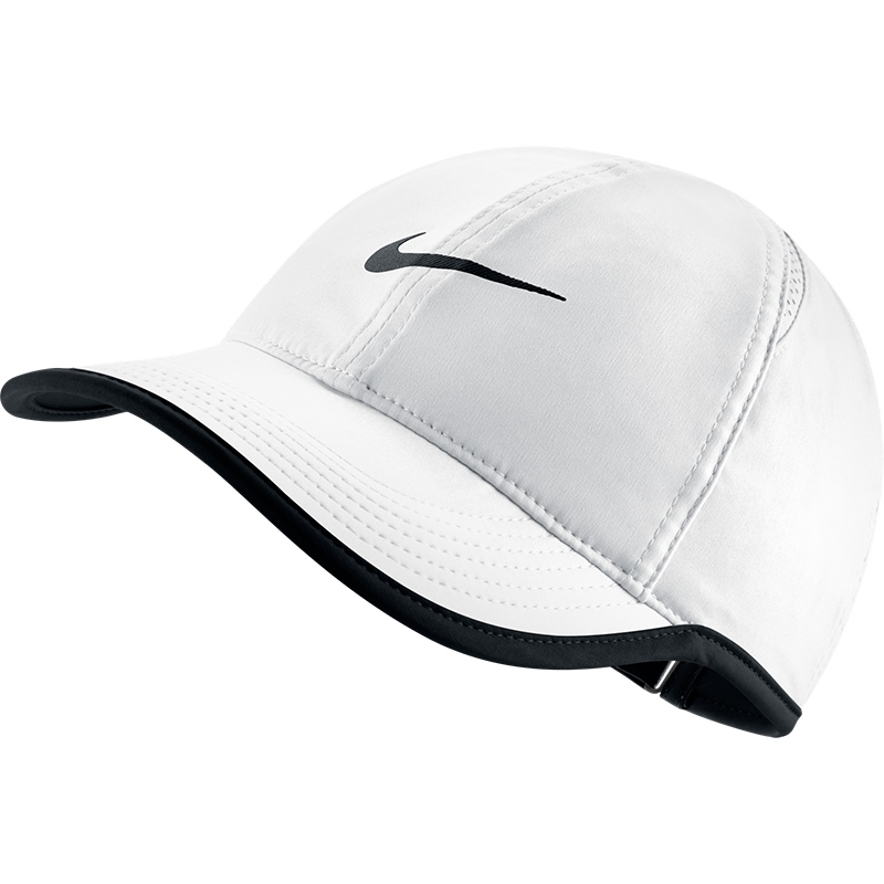 nike featherlight s tennis hat white black