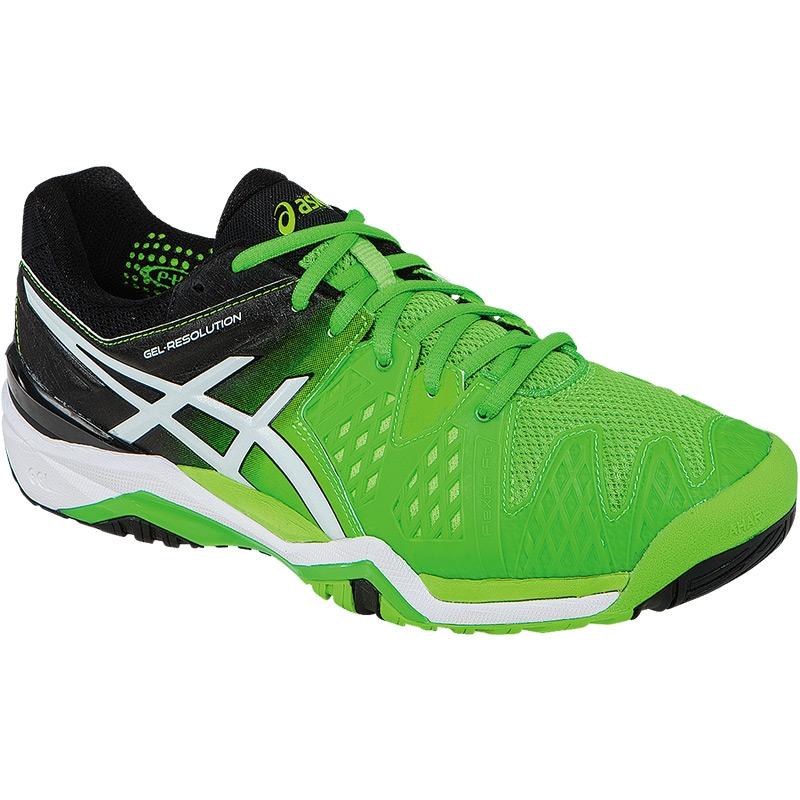 asics gel resolution 6 mens tennis shoe green black