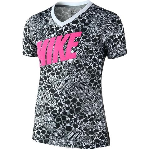 Nike Legend Swoosh Fill 2 V- Neck Girl's Top