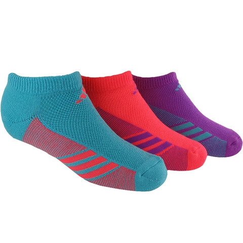 Adidas 3- Pack No Show Girls Tennis Socks