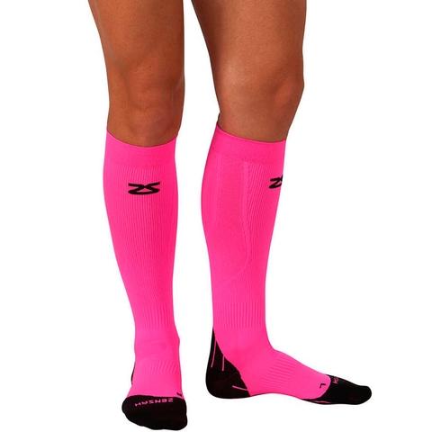 Zensah Tech + Compression Socks Neon Pink