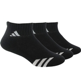 Adidas Striped 3 Pack Quarter Junior's Tennis Socks Black