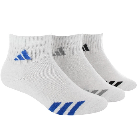 Adidas Striped 3 Pack Quarter Junior's Tennis Socks