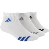 Adidas Striped 3 Pack Quarter Junior's Tennis Socks White