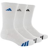Adidas Striped 3 Pack Crew Junior's Tennis Socks White