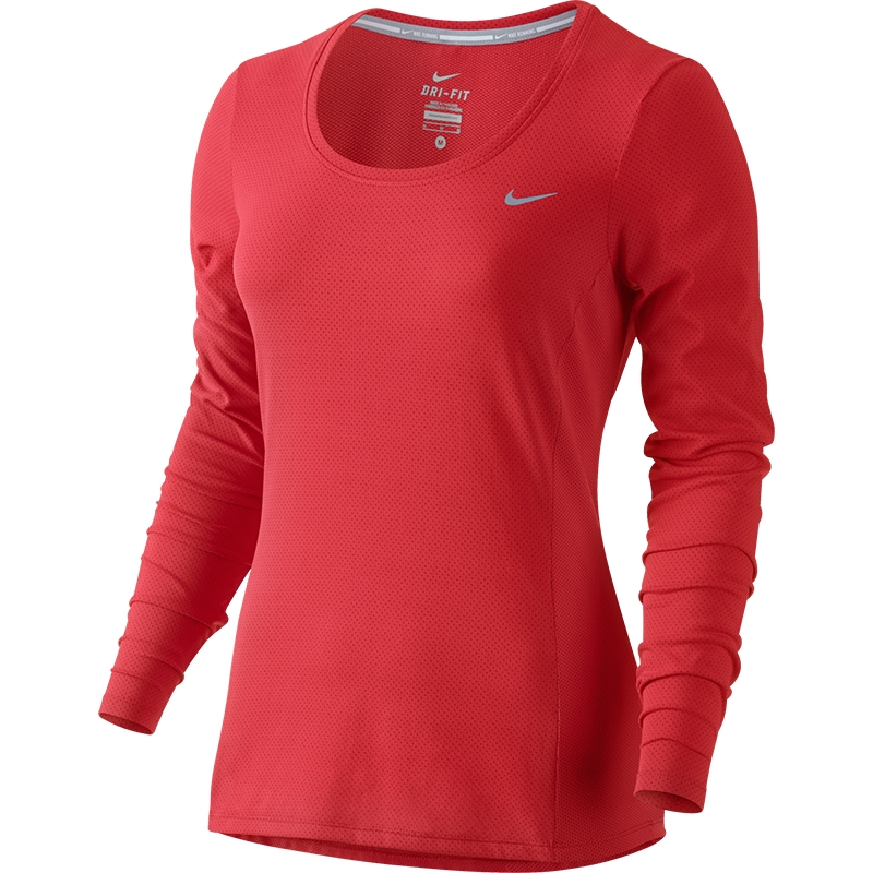 tom et jerry in english - Nike Dri-Fit Contour LS Women's Top Crimson