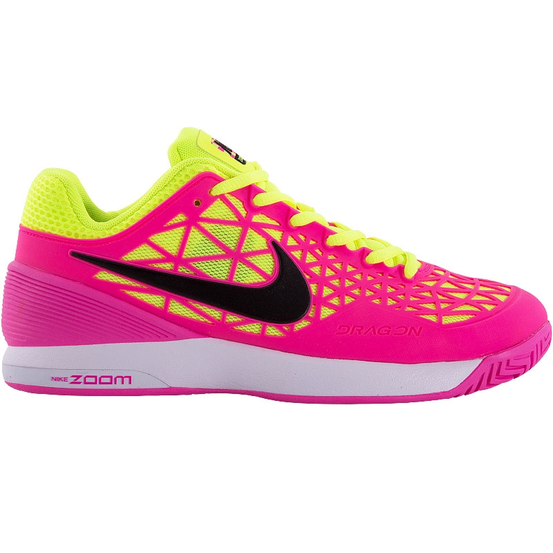 nike zoom cage 2 s tennis shoe white pink volt