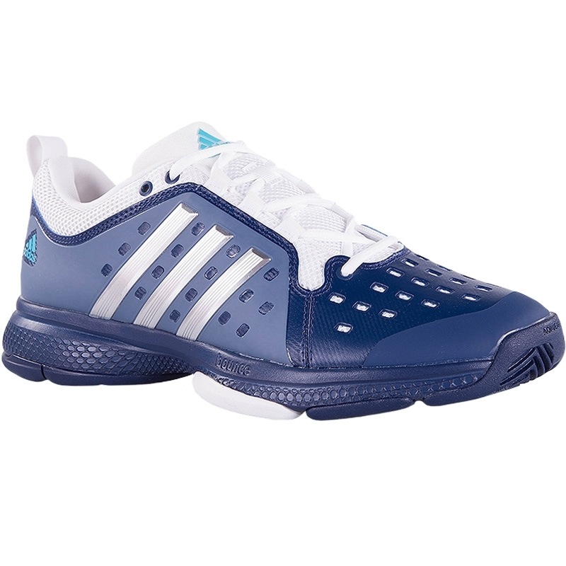 adidas barricade classic bounce s tennis shoe blue white