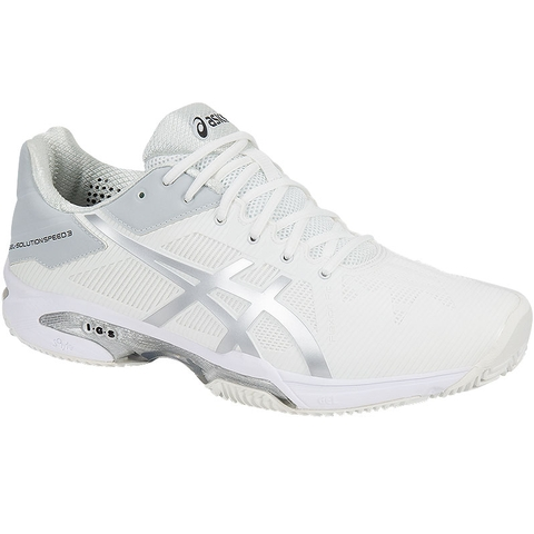 Asics Gel Solution Speed 3 CLAY Women's Tennis Shoe White/silver
