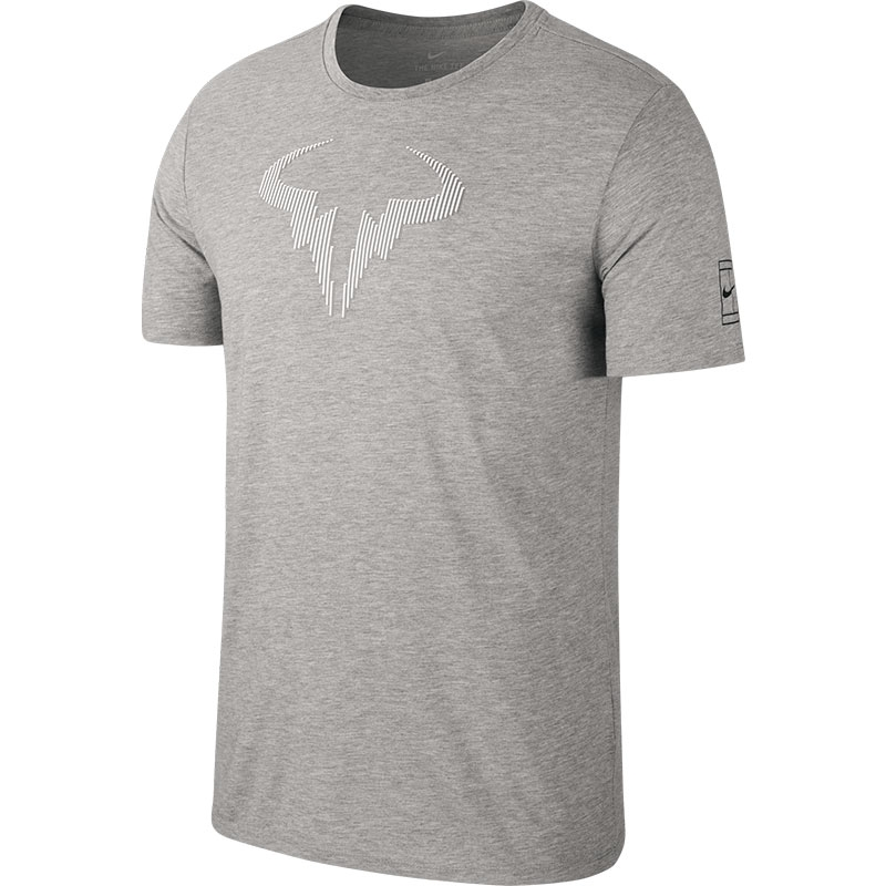918979cc Nike Rafa Men's Tennis Tee Greyheather/black