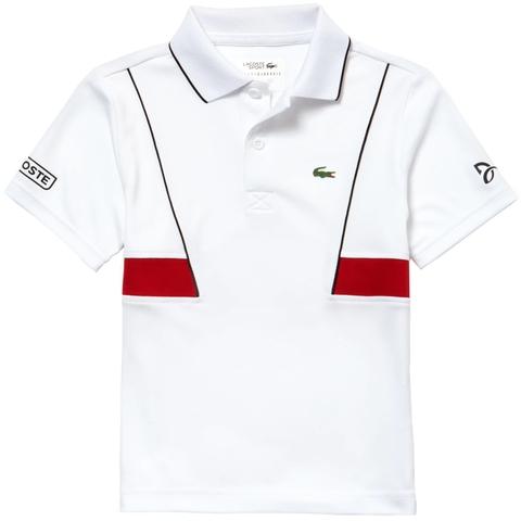 ecbda32c8b9901 Lacoste Ultra Dry Roland Garros Boy s Tennis Polo White red