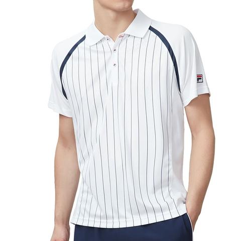 b30655d356 Fila Heritage Pinstripe Mens Tennis Polo White/navy