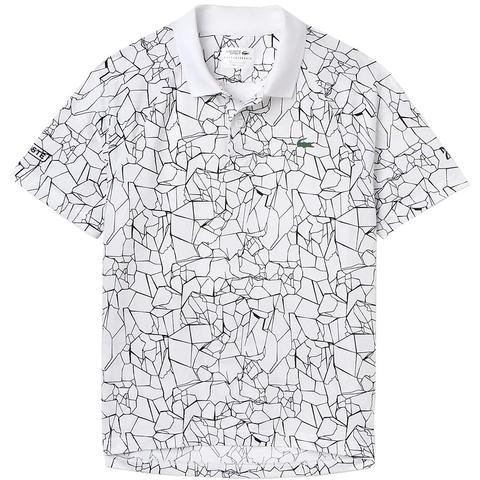 ee574cea Lacoste ND Ultra Dry Net Print Men's Tennis Polo White/black