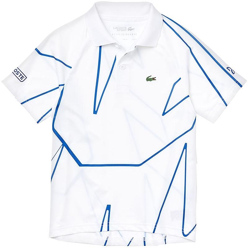 Lacoste Novak Croc Boys Tennis Polo White Royal
