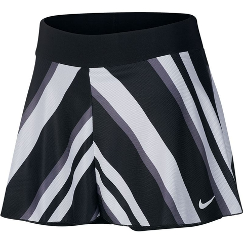 Nike Court Dry Flouncy Printed Women S Tennis Skirt Black White Flat, elastic waistband stretches for a secure, flattering fit. nike court dry flouncy printed women s tennis skirt