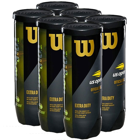 Wilson Us Open Extra Duty 6 Can Pack Tennis Balls - 3 Ball Cans