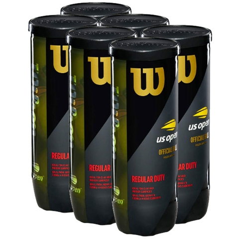 Wilson Us Open Regular Duty 6 Can Pack Tennis Balls - 3 Ball Cans