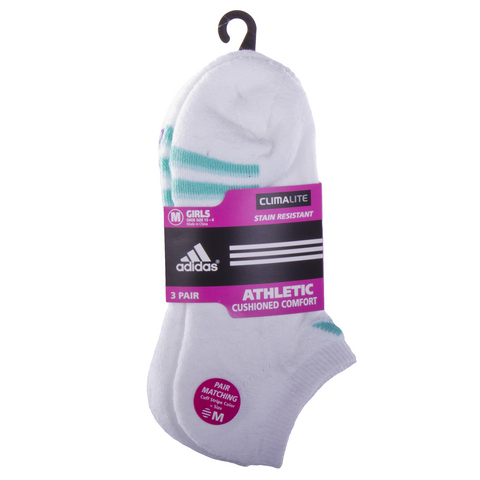 Adidas Girl's Variegated 3 Pack No Show Tennis Socks White - Medium