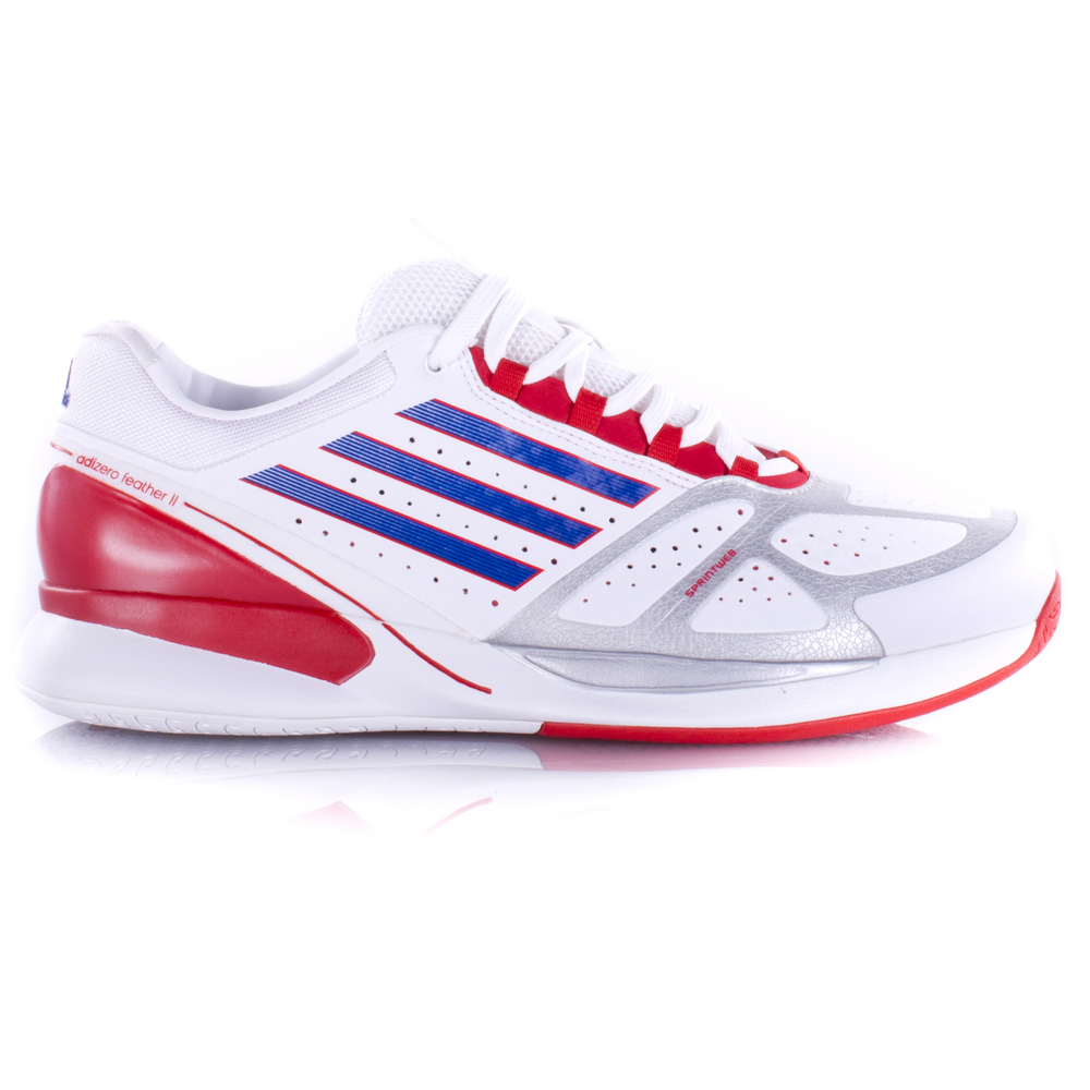 adidas adizero feather ii s tennis shoe white blue orange