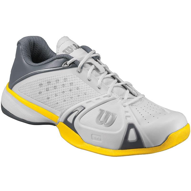 wilson pro s tennis shoes white grey yellow