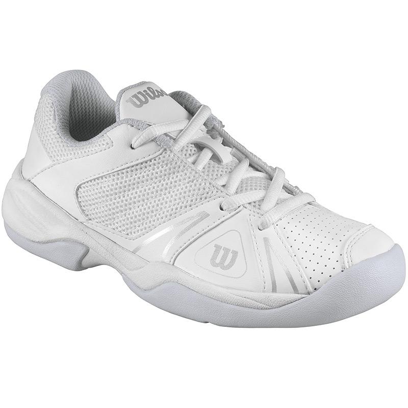 wilson open junior tennis shoe white silver