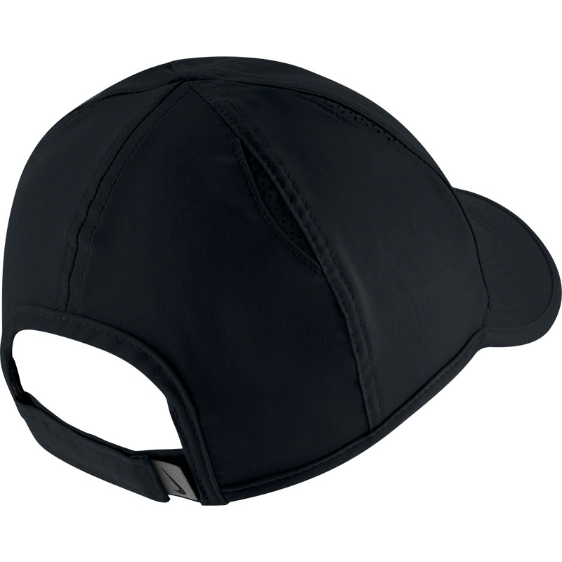 nike featherlight s tennis hat black white