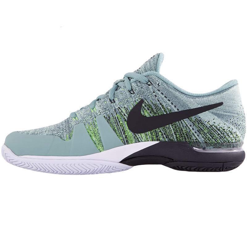 nike zoom vapor flyknit s tennis shoe green black