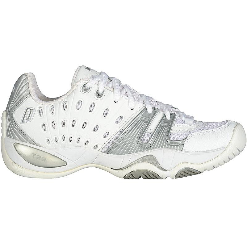 prince t22 s tennis shoe white silver