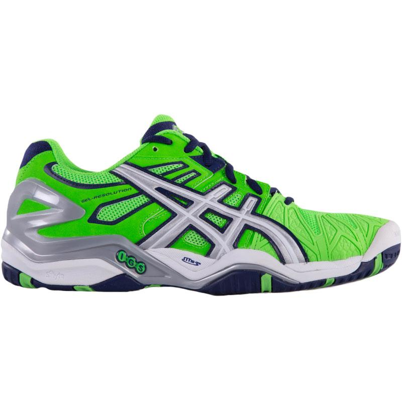 asics gel resolution 5 s tennis shoes green silver blue