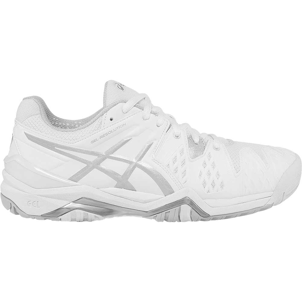 asics gel resolution 6 wide s tennis shoe white silver
