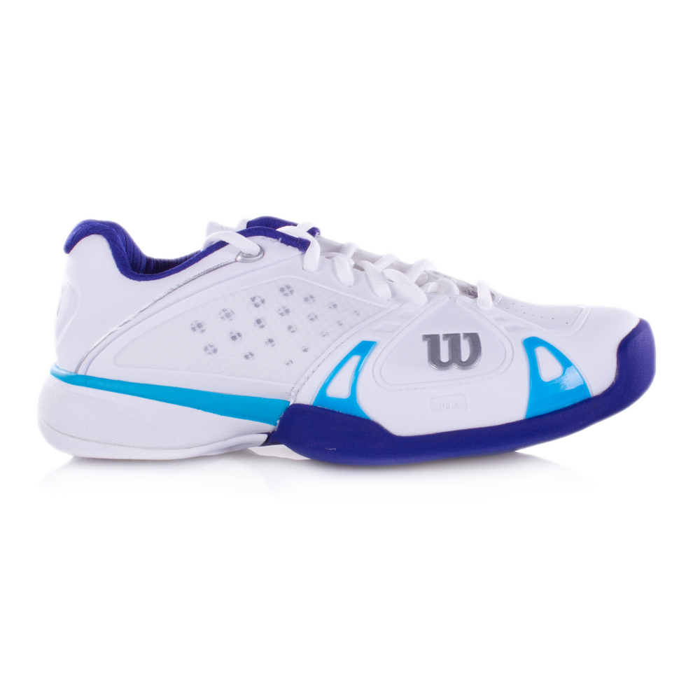 Re-entering the competitive tennis shoe market with a bang in 2013, the men's and women's Rush Pro in blue and white was a hit with both our male and female