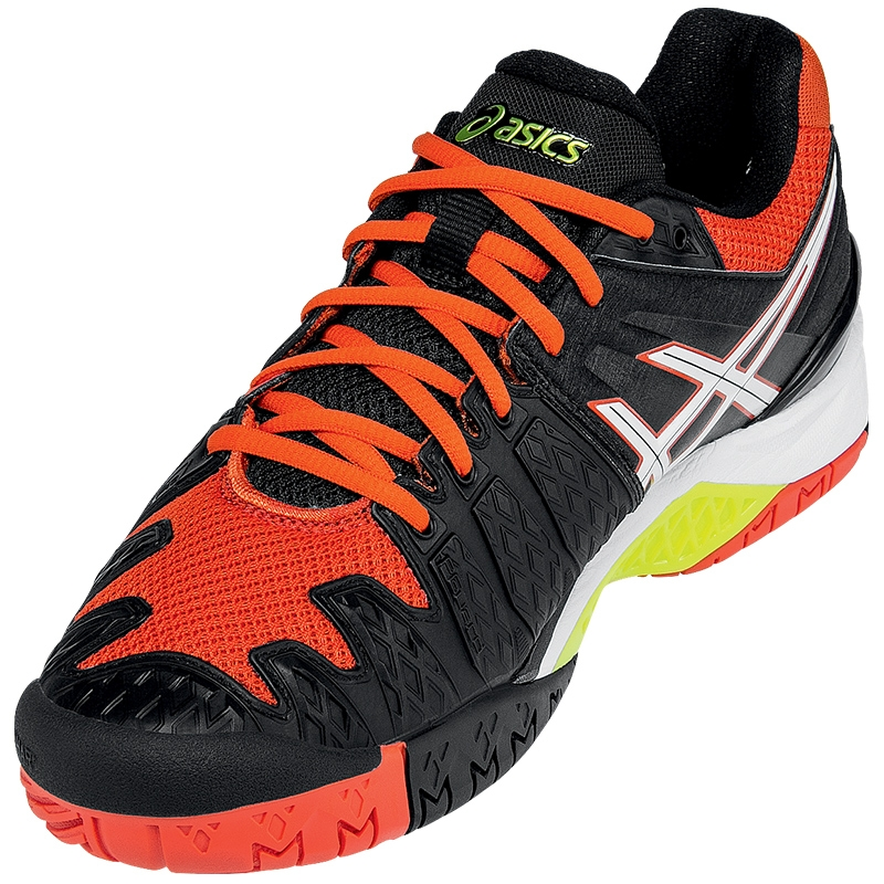 Asics Tennis shoes Mens Black White Orange Gel resolution 6