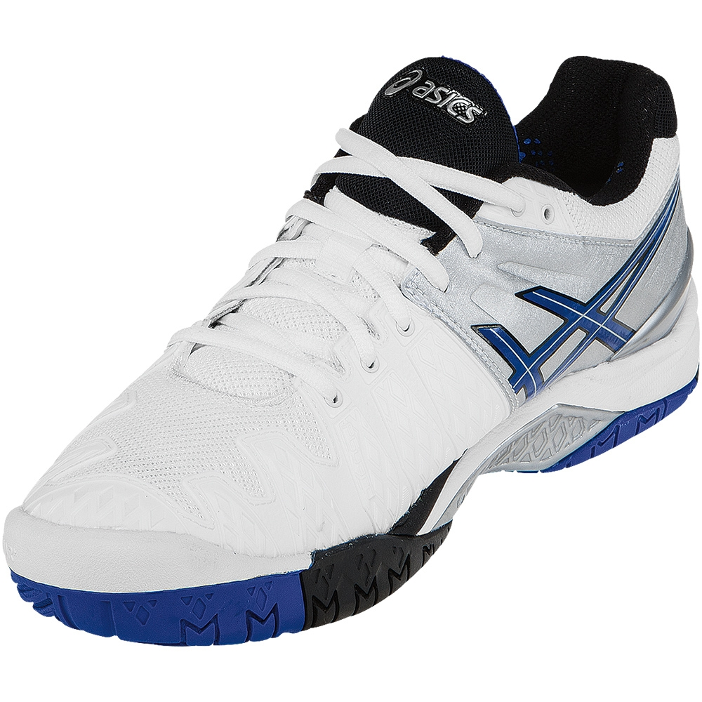 asics gel resolution 6 s tennis shoe white blue silver