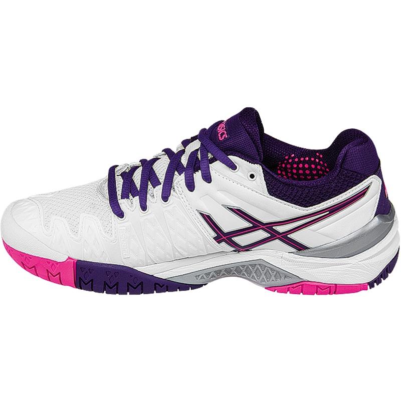 asics gel resolution 6 s tennis shoe white purple