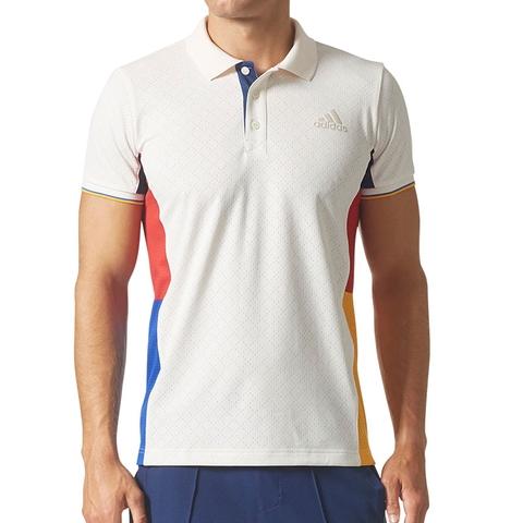 35727dfb9890 Adidas Pharrell Williams NY Men s Tennis Polo White blue yellow