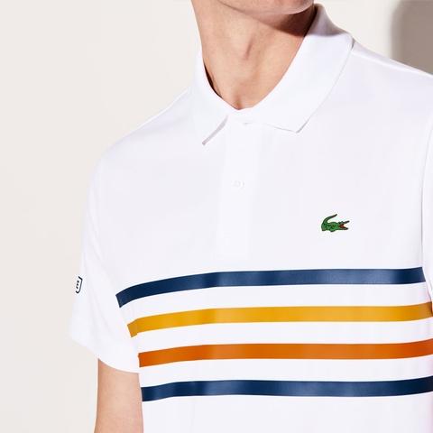 fc8bf7b7 Lacoste Pique Ultra Dry Multi Color Stripe Men's Tennis Polo White ...