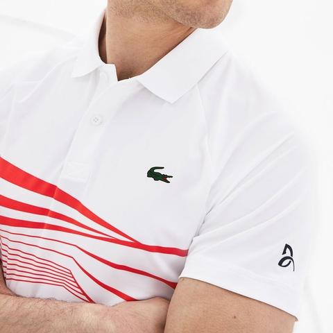 70f9a0f78 Lacoste Novak Ultra Dry Center Geo Print Men s Tennis Polo White ...
